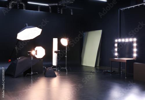 Fotografering Interior of modern photo studio with professional equipment