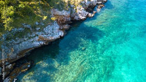 Foto Aerial view of crystal clear water off the coastline in Croatia