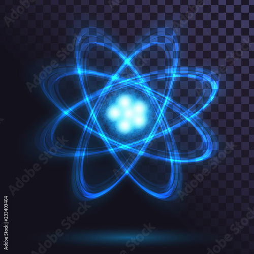 Canvas Print Blue glowing atom on transparent background