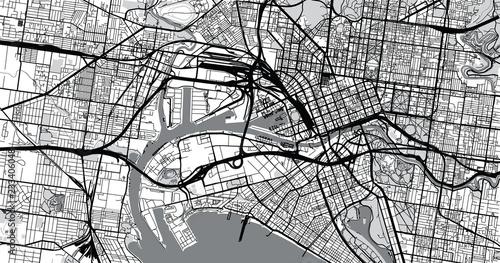 Fototapeta Urban vector city map of Melbourne, Australia