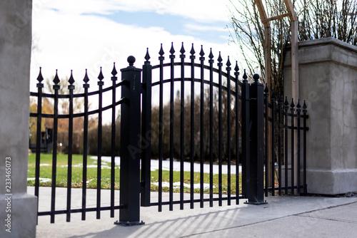 Black iron fence gate silhouette Fototapete