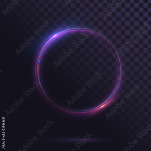 Wallpaper Mural Glowing circle. Round shiny frame on a transparent background