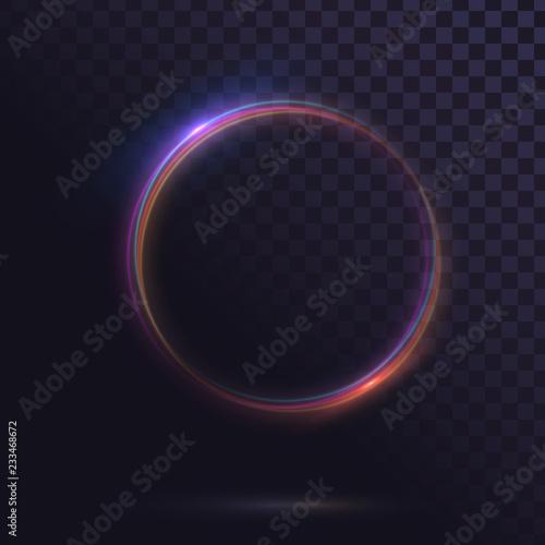 Fototapeta Glowing circle. Round shiny frame on a transparent background
