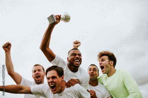 Stampa su Tela Soccer players team celebrating their victory