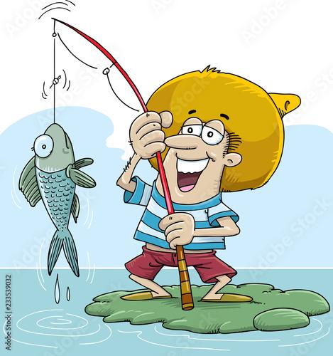 Photo Happy fisherman character hold big fish