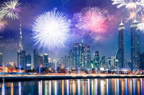 Slika na platnu fireworks around Burj Khalifa - exotic New Year destination, Dubai, UAE