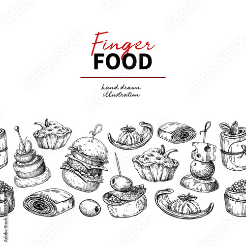 Fotografía Finger food vector drawing. Catering service template for flyer,