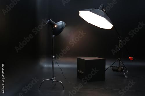 Valokuva Professional lighting equipment on dark background