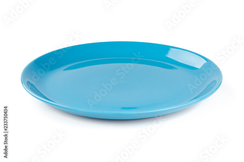 Blue pastel plate isolated on white background
