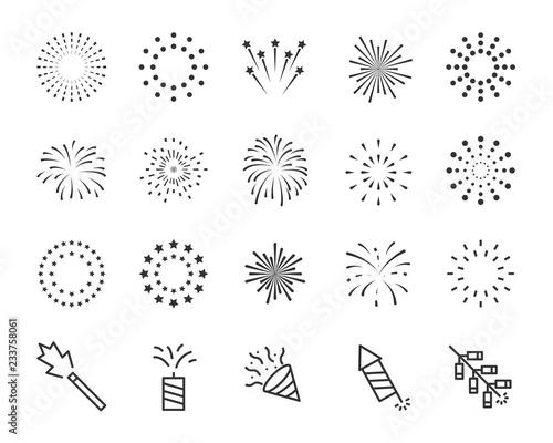 Photo firework line icon set, happy new year firework
