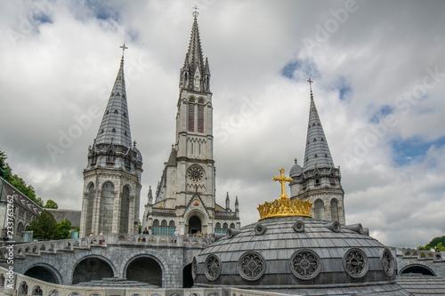 Fotografie, Obraz Our Lady of Lourdes Basilica in Lourdes, France.