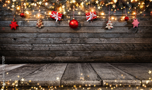 Christmas rustic background with wooden planks