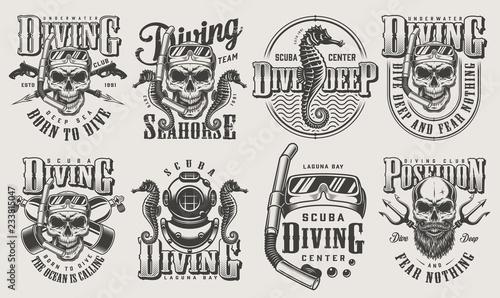 Fotografie, Obraz Vintage monochrome diving logos set