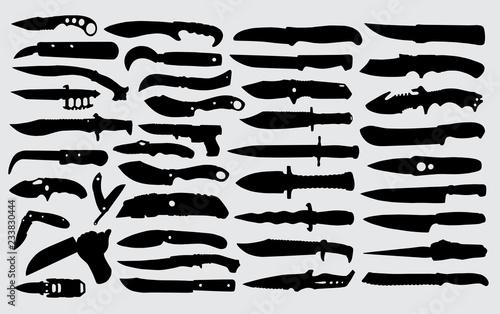 Obraz na plátně Knife silhouette good use for symbol, logo,web icon,mascot,sign or any design yo