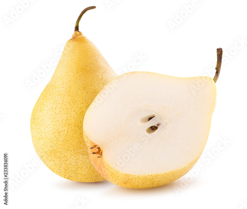 pear with half of pear isolated on a white background