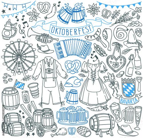 Fotografija Oktoberfest doodle set