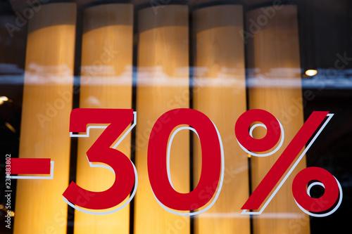 Obraz na płótnie Sale. Shop window with 30 percent discount
