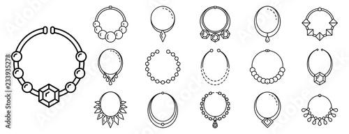 Fotografie, Obraz Necklace jewelry icon set