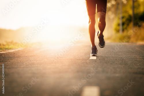 Fototapeta The man with runner on the street be running for exercise.