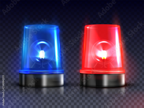 Fotografia Blue and red realistic flasher sirens set