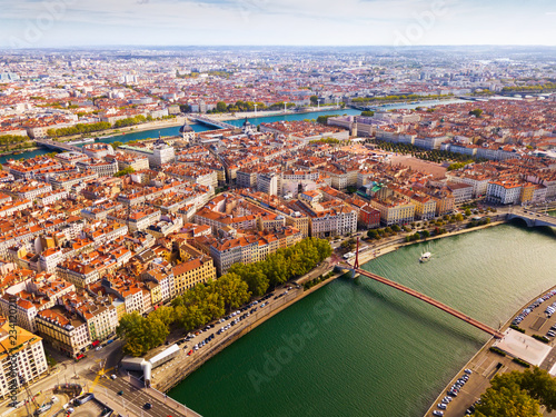 Vászonkép Aerial view of Lyon