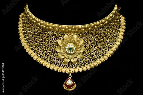 Canvas Print Pure 24 carat gold jewellery necklace