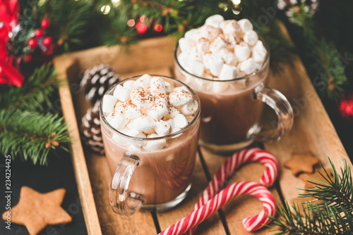 Hot chocolate with marshmallows, warm cozy Christmas drink in a wooden tray