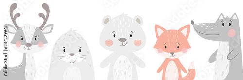 Canvas Print Reindeer, raccoon, seal, wolf, penguin, bear, fox baby winter set