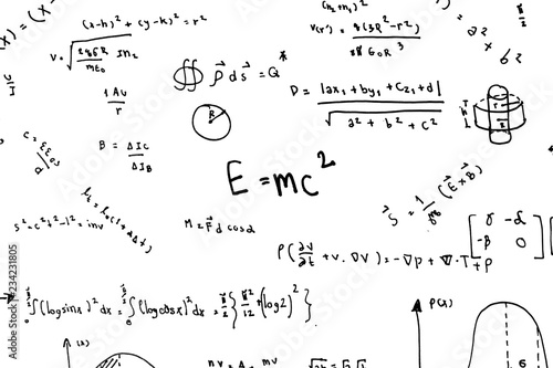 Canvas Print Math equations hand write scientific formulas and calculations in physics and ma