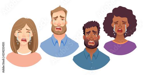 Fotomural emotions of human face set