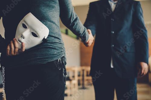 Masked, no sincerity of doing business together. Fotobehang