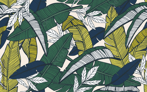 Seamless tropical pattern with banana leaves. Hand drawn