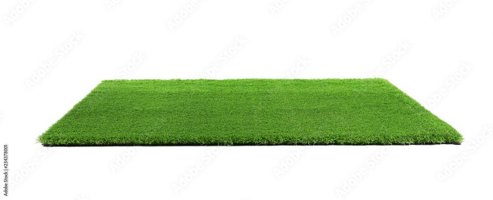 Sztuczny trawa dywan na białym tle. Element zewnętrzny <span>plik: #234378001   autor: New Africa</span>