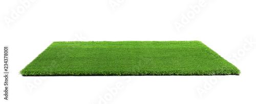 Artificial grass carpet on white background. Exterior element