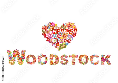 Photo Colorful Woodstock flowers lettering and hippie heart shape for t shirt print, p