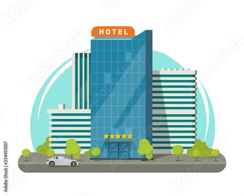 Hotel isolated on city street vector illustration, flat cartoon modern skyscraper hotel building near road