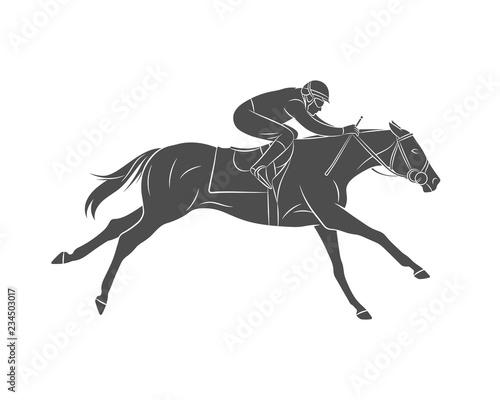 Fényképezés Silhouette racing horse with jockey on a white background