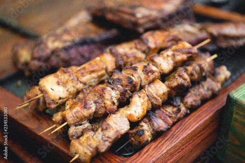 delicious and fragrant skewers grilled for barbecue