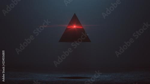 Fotografia Futuristic Abstract Alien Pyramid AI Super Computer Droid with Glowing Lens Flar