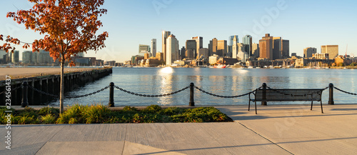 Canvas Print View Across Boston Harbor to the Boat Traffic fronting the Downtown City Skyline