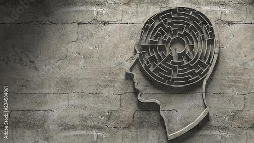 Obraz na płótnie Paranoia schizophrenia psychopath and mental health disorders labyrinth abstract