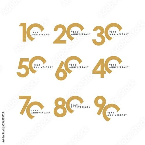 Year Anniversary Set Vector Template Design Illustration Fototapeta