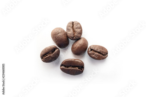 Fotografiet Roasted coffee beans isolated on white background.
