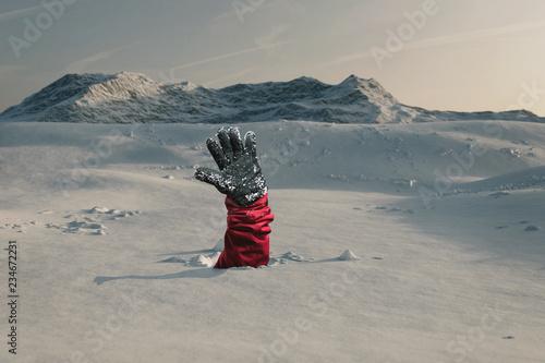 Hand streckt aus und signalisiert nach Hilfe Fototapete