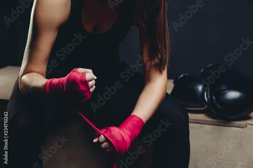 Fotomural girl athlete Boxing MMA