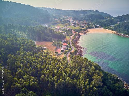 Aerial view landscape of Chanteiro beach in Galicia Spain