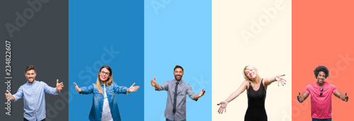 Photo Collage of group of young people over colorful vintage isolated background looking at the camera smiling with open arms for hug