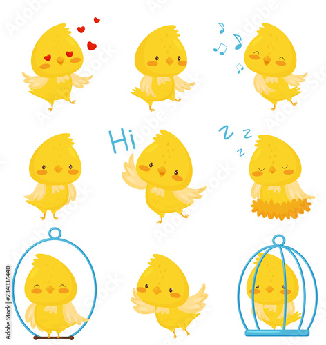 Fotomural Cute chicken chracters in various situations set, emotional funny bird cartoon c
