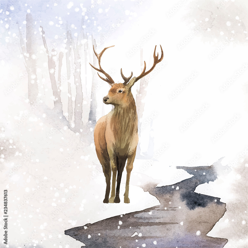 Mężczyzna jeleń namalowany przez wektor akwarela <span>plik: #234837613 | autor: Rawpixel.com</span>