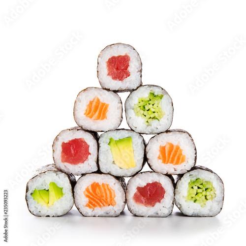 Valokuvatapetti Pyramid of sushi hosomaki